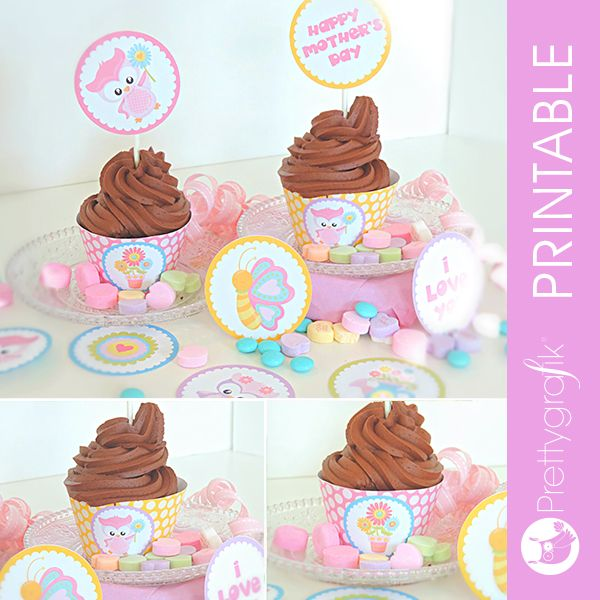 Find the blog here: http://www.partyblog.mygrafico.com/mothers-day-cupcake-party/ This is a wonderful Mother's day printable kit including 2 cupcake wrappers and 9 cupcake toppers. Have fun celevrating with these beautiful party printables.