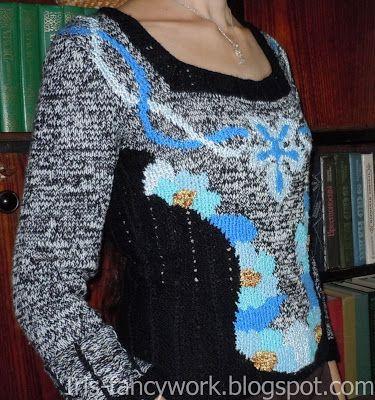 My Fancywork Blog: Серо-черная кофточка со сложным жаккардом в синих ...