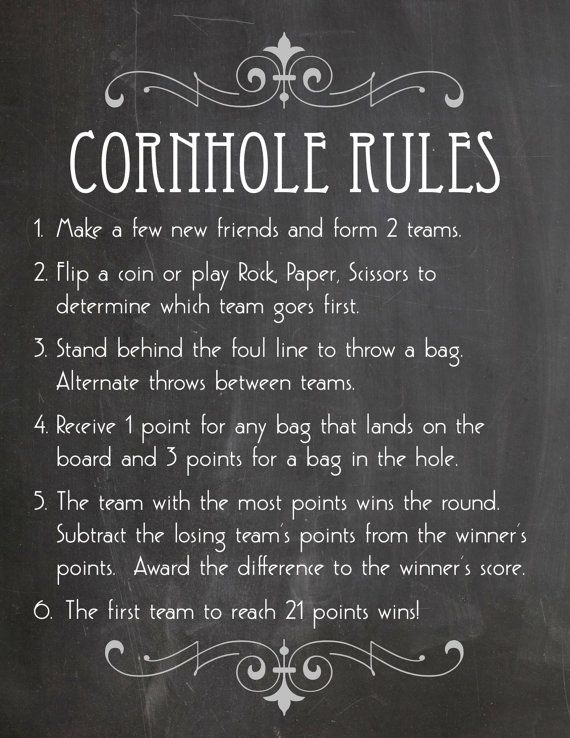 Printable Cornhole Rules and 2 Signs in Faux by KnottedLife