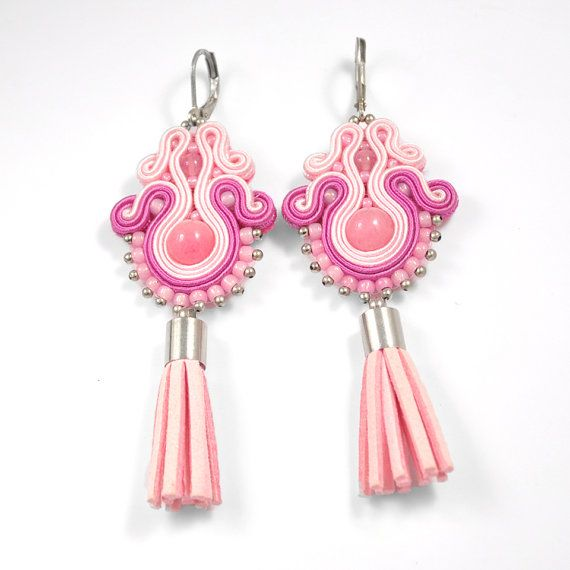 Pink soutache earrings jade earrings soutache by AvennaJewelry
