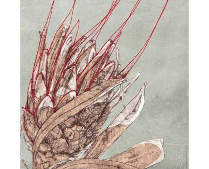 Protea Embroidery Artwork - Wall Artwork   Weylandts South Africa