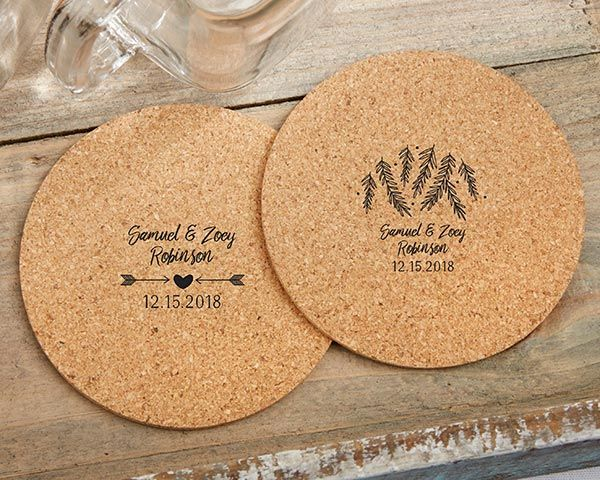 Rustic Wedding Favors - Personalized Winter Round Cork Coasters - Unique Rustic Wedding Invitations.com #rusticweddings #rusticweddinginspiration