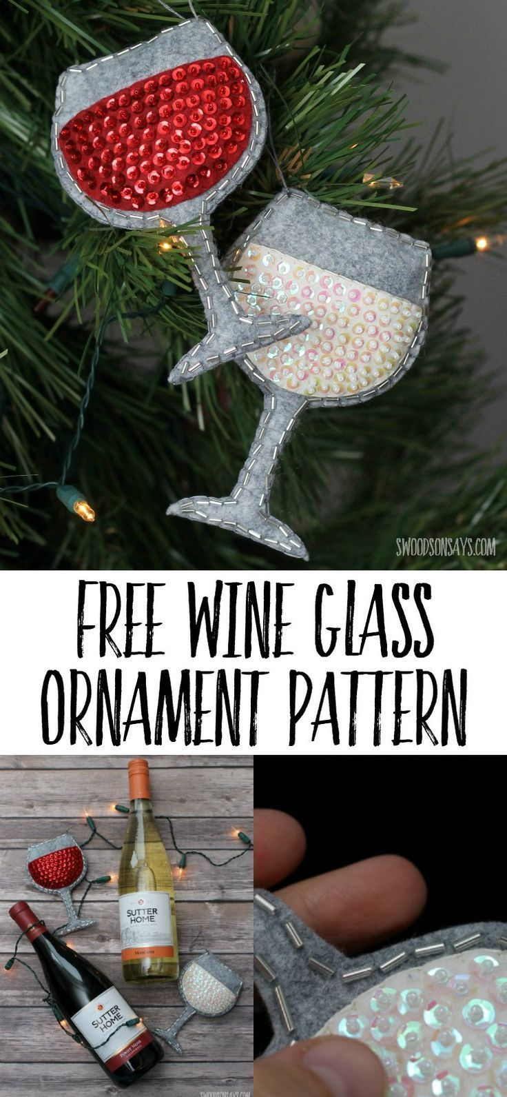 Perfect handmade gift idea for wine lovers - sew up a sequin and felt ornament with this free wine glass ornament sewing pattern! #diychristmasornament #GiftsForWineLovers
