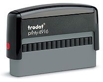 """Trodat 4916 Custom Self-Inking Stamp 3/8"""" x 2-3/4"""". Ideal for single line stamps, for stamping in the """"Pay to the order of line"""" of a cheque. Up to two lines of copy."""