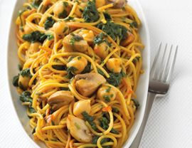 Spaghetti with Spinach and Mushrooms (made this for supper tonight and it was wonderful! added onions and sweet red peppers)