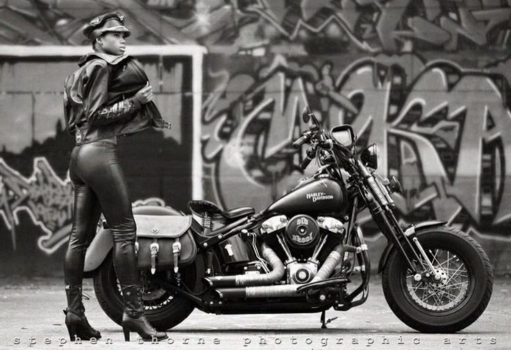 My Bike With Model Ines Retro Vintage Style Harley