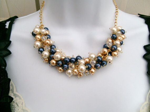 Chunky Pearl Necklace Navy Gold and Ivory Bridesmaid