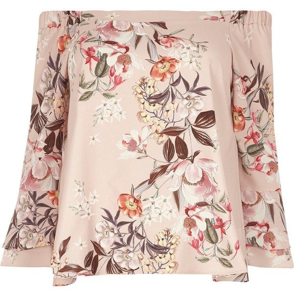 River Island Plus pink floral print bell sleeve bardot top ($64) ❤ liked on Polyvore featuring tops, bardot / cold shoulder tops, pink, women, cold shoulder tops, plus size floral tops, pink top, pink cold shoulder top and bell sleeve tops