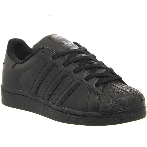 Adidas Superstar Gs ($76) ❤ liked on Polyvore featuring shoes, sneakers, adidas, trainers, black mono, hers trainers, black trainers, retro shoes, adidas sneakers и black shoes