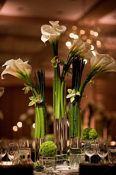 Holiday centerpiece: calla lillies & orchids
