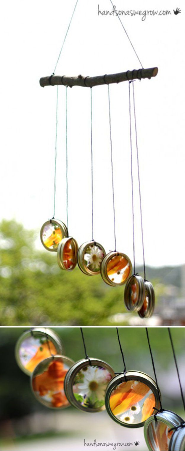 Easy Beautiful Handmade Wind Chimes | Homemade Nature Suncatcher Wind Chimes by DIY Ready at http://diyready.com/32-diy-wind-chimes/