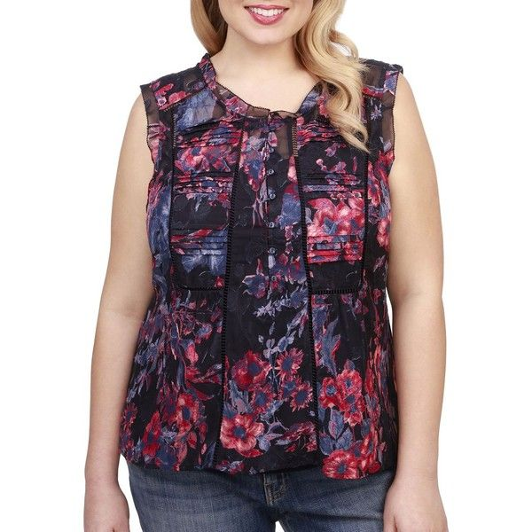 Lucky Brand Plus Women's Roundneck Floral-Print Blouse ($90) ❤ liked on Polyvore featuring plus size women's fashion, plus size clothing, plus size tops, plus size blouses, navy, pleated blouse, navy sleeveless blouse, purple blouse, button front blouse and navy blue sleeveless blouse