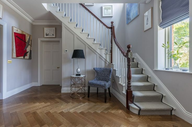 Herringbone engineered wood floors from TileStyle seen in this 2017 Dublin home renovation. #Wood # Flooring #Herringbone #Engineered #Hallway #Stairs #interiordesign