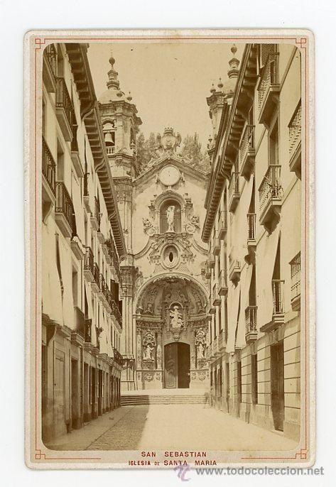 Fotografía antigua: ALBUMINA EN CARTON, SAN SEBASTIAN, IGLESIA DE SANTA MARIA (SIGLO XIX) - Foto 1 - 50611572