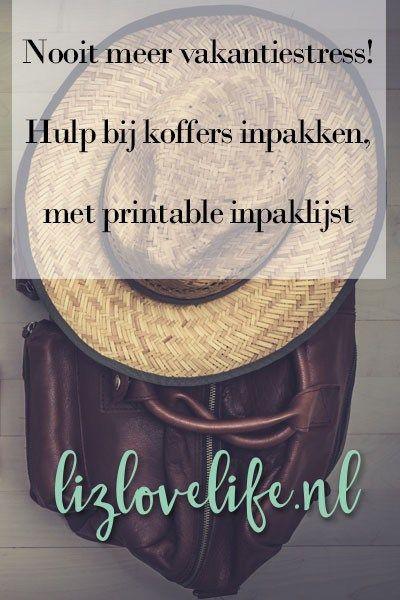 Nooit meer vakantiestress! Hulp bij koffers inpakken, met printable inpaklijst - Lizlovelife