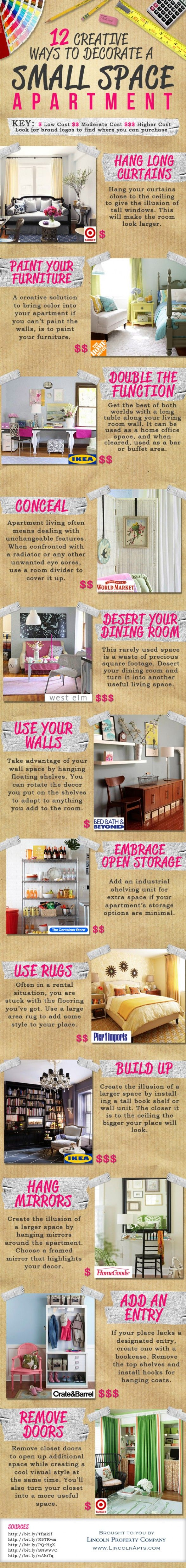 Great tips for dorms or apartments! 12 Creative Ways to Decorate a Small Space!