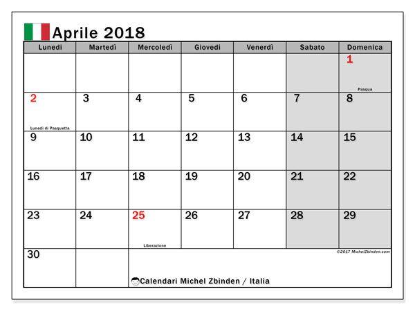 Calendario Con Giorni Festivi.Calendario Aprile 2018 Italia Desktop Free Printable