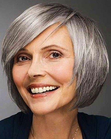 Round Faces Short Bob Haircuts For Older Women