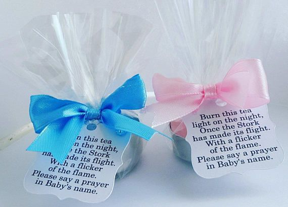 BLUE PINK WHITE CUTE BABY SHOWER CANDLE FAVOURS WITH SCENTED CANDLES Pack of 10, Baby Blue