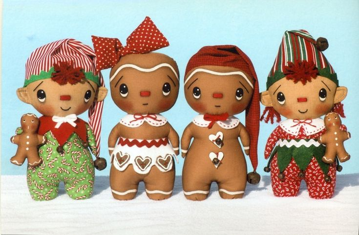 Gingerbread girl and boy Christmas ornamental cloth doll pattern!!! Bebe'!!! Love these little gingerbread boys and girls!!!
