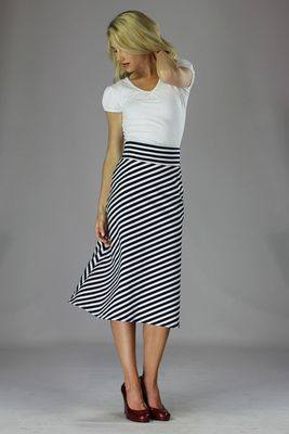 """Knit Midi A-Line"" Modest Skirt in Black/White Stripes"