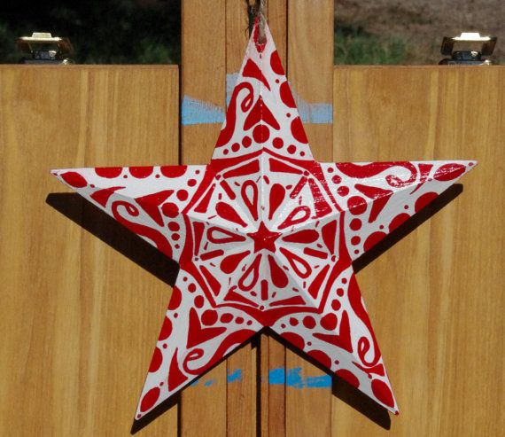 3 dimensional wooden star red and white by
