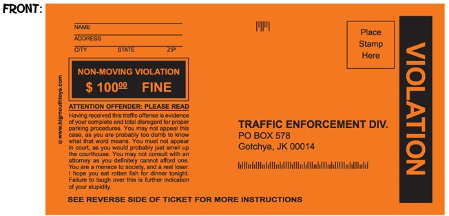 """fake parking tickets! you fill in the blanks: """"parking to close"""" """"creating a space"""" """"taking up 2 spaces""""... this could totally come in handy in my parking lot!! i'm definitely buying a pack!!"""