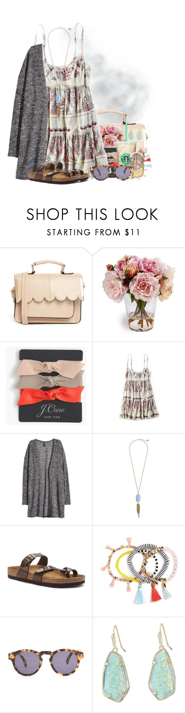 """Recreating one of my old sets☁️"" by flroasburn ❤ liked on Polyvore featuring ASOS, J.Crew, American Eagle Outfitters, H&M, Kendra Scott, Birkenstock, BaubleBar and Illesteva"