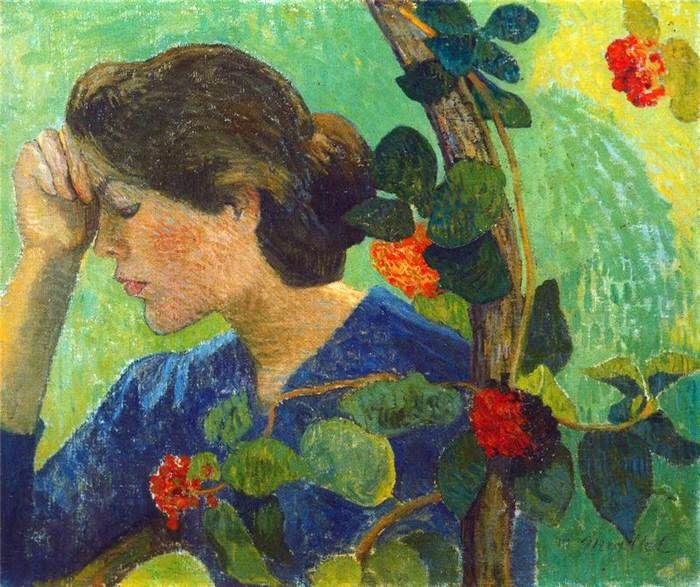 Jeune fille pensive au feuillage // by Aristide Maillol