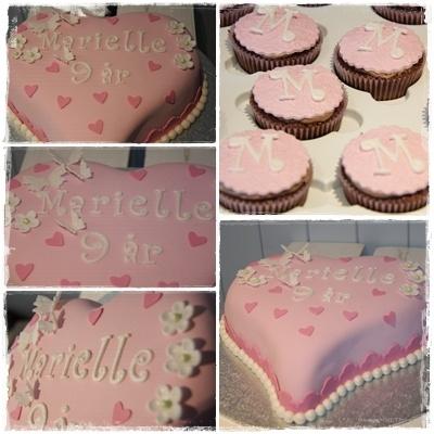 Pink girly heart cake