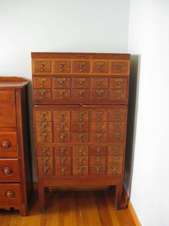 Captivating Oak Card Catalog Cabinet
