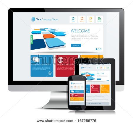 This image is a vector file representing a smartphone  and a tablet with a responsive design website. / Responsive App Design / Responsive App Design