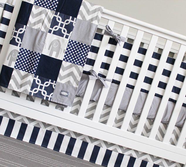 Grey and Navy Blue Baby Boy Crib Bedding, Grey Elephant Crib Set by GiggleSixBaby on Etsy https://www.etsy.com/listing/240640651/grey-and-navy-blue-baby-boy-crib-bedding