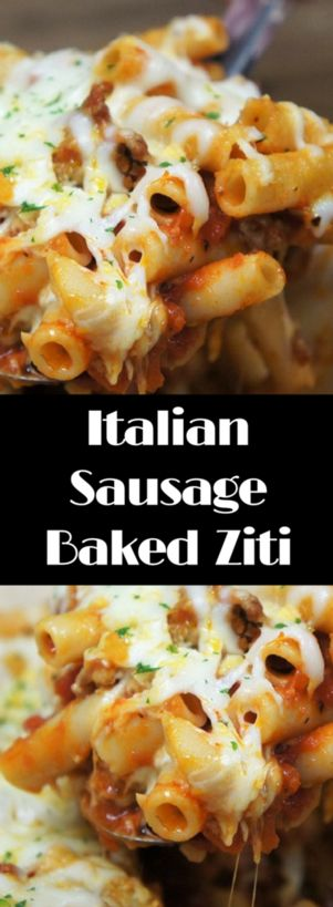 This Easy Italian Sausage Baked Ziti is a delicious dish that will feed a crowd. In this recipe we use Italian sausage, it adds a ton of flavor so we can use just a handful of ingredients. We also cheat a little by using jarred pasta sauce and canned tomatoes, but we add onions and a ton of garlic for a homemade taste. Then of course there's the cheese…a lot of cheese! This pasta dish will become a family favorite for sure.
