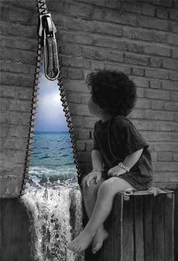 """Alone with Sea"" by IMAN MALEKI(PAINTER)."