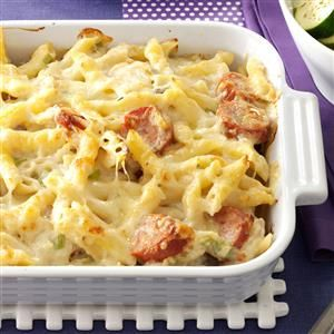 Polish Casserole Recipe -When I first made this dish, my 2-year-old liked it so much that he wanted it for every meal! You can use most any pasta that will hold the sauce. —Crystal Bruns, Iliff, Colorado