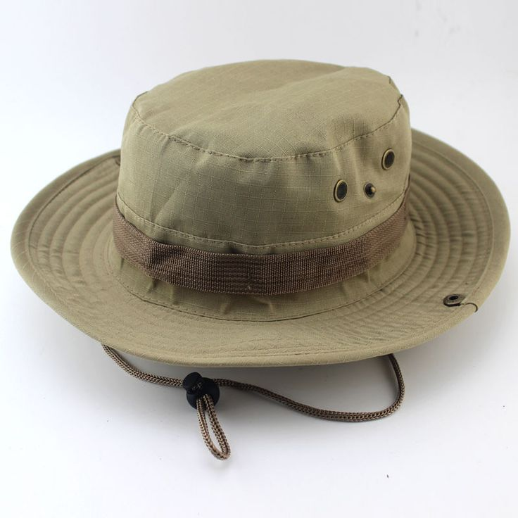 19 Colors Men Military Camo Bucket Hat with Strings Camping Hiking Travel Sniper Wide Brim Boonie Hat