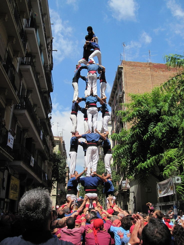 Human towers called Castells are traditionally built in festivals all over Catalonia.