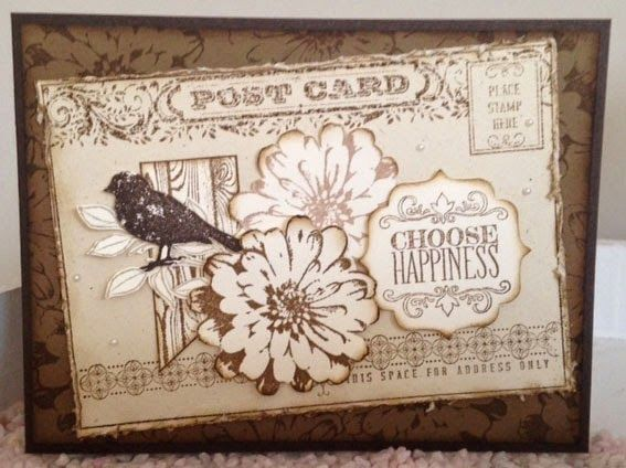 Vintage ~ Post Card & Choose Happiness