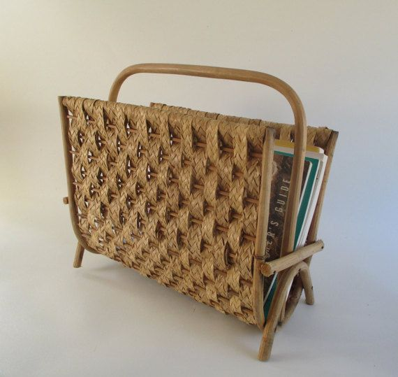 Magazine Rack Vintage Bentwood Bamboo Woven by HobbitHouse on Etsy