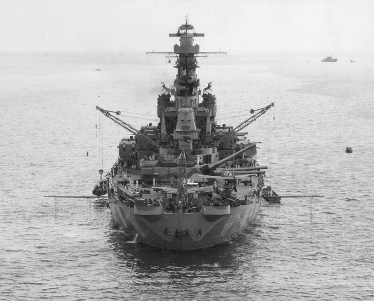 Battleship USS Indiana (BB-58) at Norfolk, VA, Sept 8, 1942 .