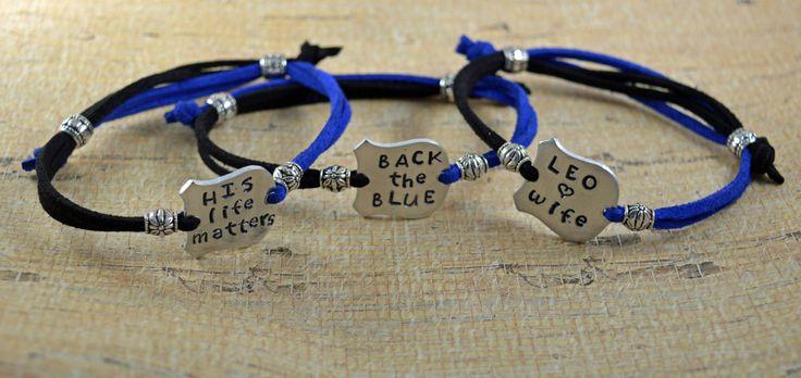 Back the Blue, Hand Stamped Adjustable Simple Bracelet, Unisex, Back The Blue, Blue Lives Matter, A Thin Blue Line, Police Support by ForeverCharmz on Etsy