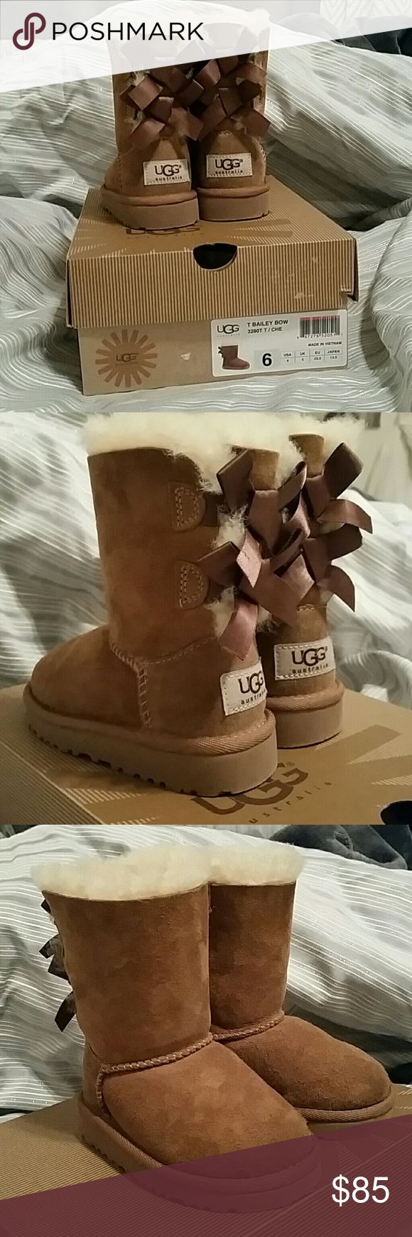 UGG girls Bailey Bow boots Size 6 Bailey Bow UGG boots. Super trendy for your little one. Unfortunately winters aren't very cold in California so my little one has only worn them 2-3 times before she out grew them. UGG Shoes Boots