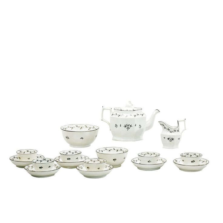 18th Century Pearlware Tea Set with Swan Finial | From a unique collection of antique and modern tea sets at https://www.1stdibs.com/furniture/dining-entertaining/tea-sets/