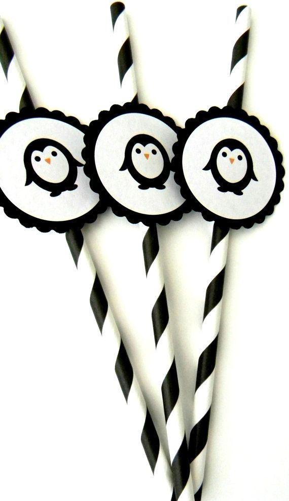 12 Penguin Party Straws by thepartypenguin on Etsy