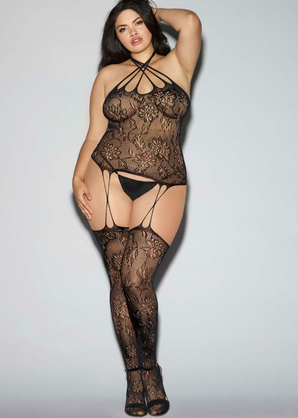 a8307996ec5 Fishnet lace plus size bustier bodystocking with criss cross halter neckline