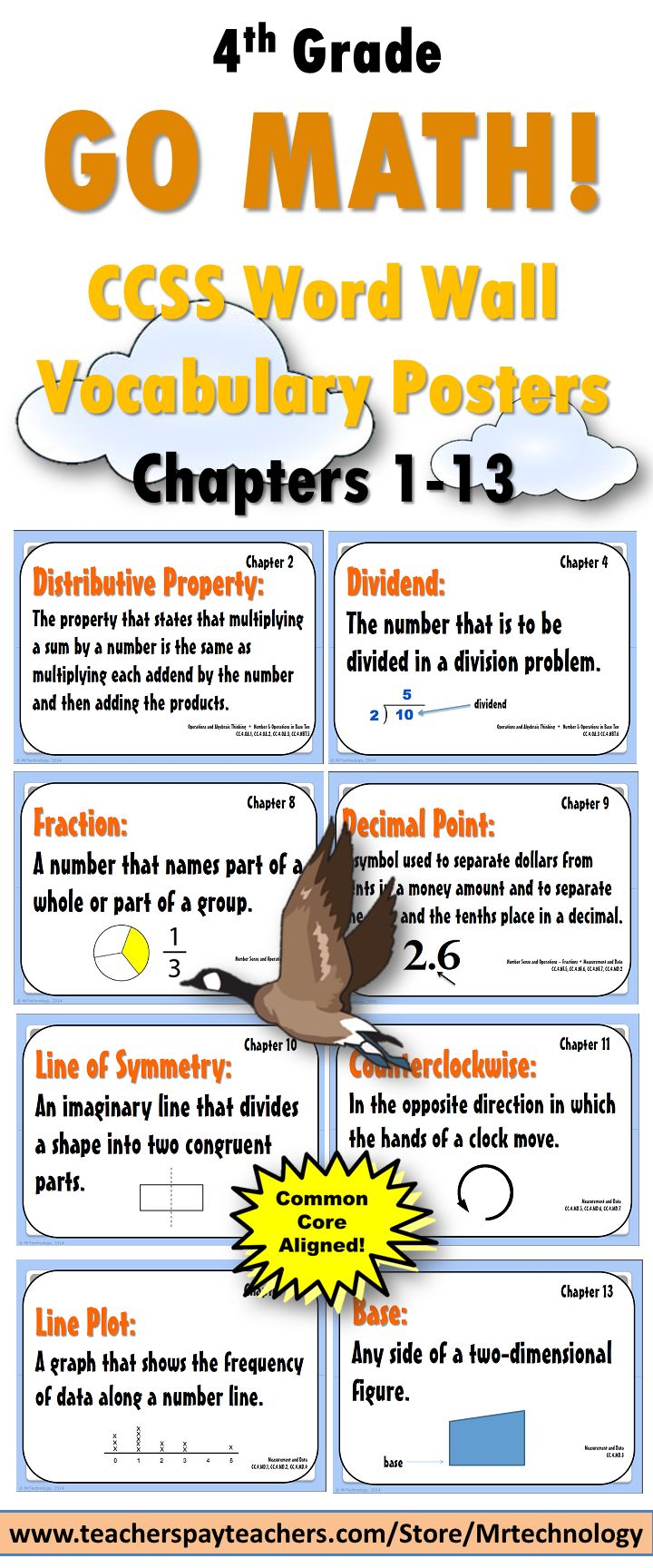 Save yourself loads of time with this visually stunning 112-page Go Math! Grade 4 Vocabulary Posters bundle! Includes each major vocabulary word that students will be introduced to with definitions for ALL 13 CHAPTERS in the Go Math! program. Perfect for hanging up on a Math Word Wall or in and around Math Centers!  To be used with the Go Math! program but can be used for any Grade 4 Math Vocabulary Word Walls because they are Common Core Aligned.