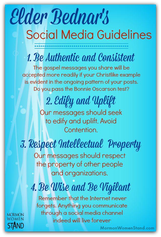 Elder David A. Bednar's talk on sweeping the earth with the Gospel via social media had these 4 great guidelines. #MormonWomenStand #SocialMedia #BYUdevo