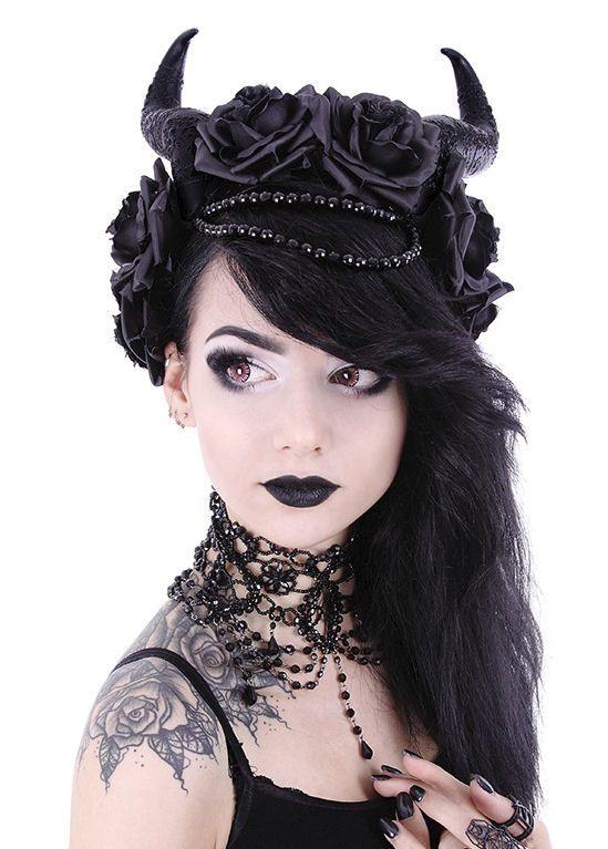 Restyle Gothic haarband Evil Queen - met zwarte rozen en horens