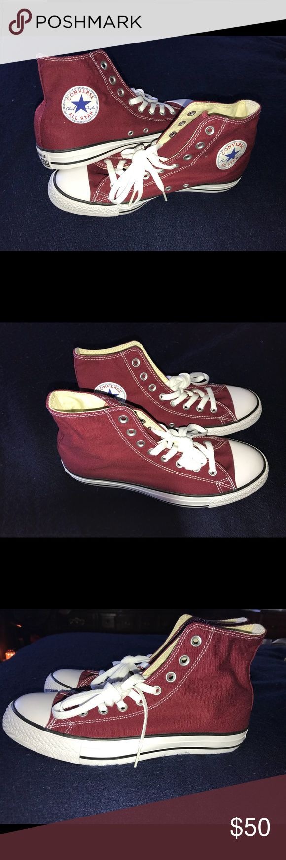 Chuck Taylor high top converse Maroon converse. Size 10 in women's 8 in men's. Brand new never worn. Bought them and they were too big chuck taylor Shoes